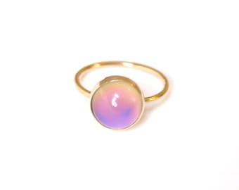Mood Ring, 14kt Gold, Color Changing Stone