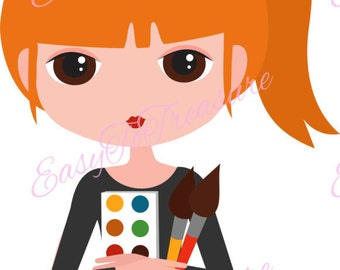 Digital Download Clipart – Redhead Ponytail Girl with Paint Palette JPEG and PNG files