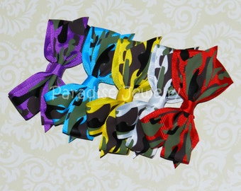 Camo Hair Bow Clip, Camouflage Bow, Party Favors, Hairbows, Camo Party favor, 6 Colors, Girls Hairbows