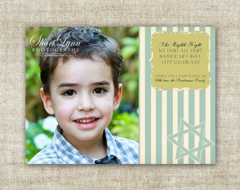 Eighth Night Hanukkah Greeting Cards Family Picture Customizable Printable Digital HOLIDAY Greeting