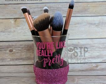 You're Like, Really Pretty, Glass Makeup Brush Holder, Glitter Brush Holder, Glitter Glass, Glitter Makeup, Makeup Life, Glitter Makeup
