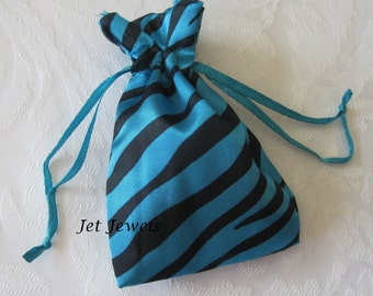 20 Gift Bags, Drawstring Bags, Jewelry Gift Bags, Turquoise Blue, Party Favor Bags, Zebra Animal Print, Sachet Bags, Drawstring Pouch 3x4