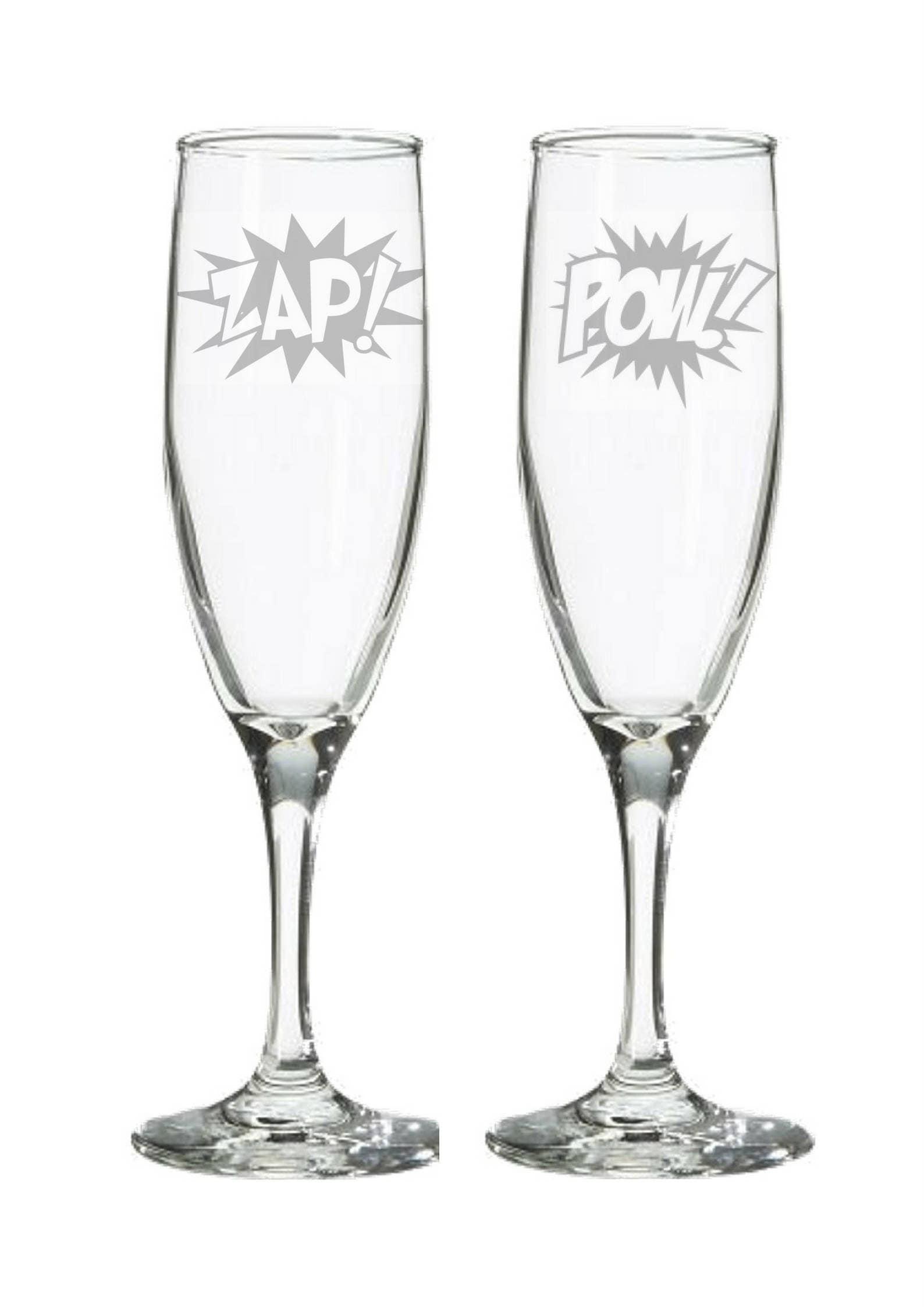 Comic Book Wedding Champagne Flutes Super Hero wedding gift