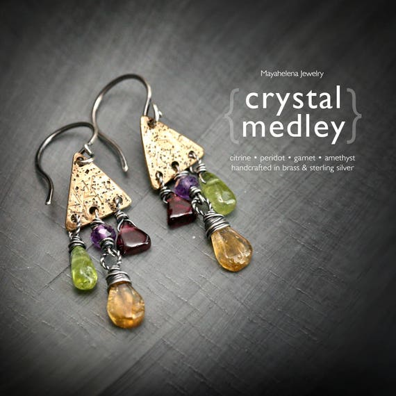 Crystal Medley  - Sterling Silver and Brass Wire Wrapped Earrings with Citrine Peridot Amethyst and Garnet