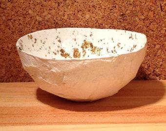 Gold and white small paper bowl. Home decor. gold leaf. minimalist contemporary decor.