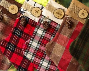 Stockings Christmas Personalized Country Christmas Wood Slice Name Tag Rustic Woodland Christmas Plaid Flannel Christmas Stocking