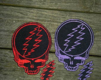 Grateful Dead Steal your face patch with free matching mini 13 point bolt patch - embroidered stealie patch - iron on grateful dead patch