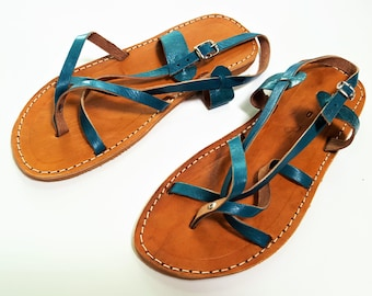 SALE ** Turquoise Leather Sandals / Flip flop Genuine Leather / Women Sandals