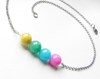 Real Marble necklace Stainless Steel chain and details Bar necklace Simply necklace Bead bar necklace Minimalist jewelry Available set