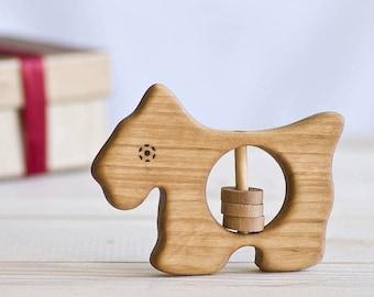 Scottie Dog Organic Baby Rattle
