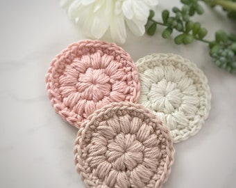 Make up remover pads • Crochet scrubbies • Face pads • Face scrubbies • Reusable cotton pads • Face wash cloth • Face cloth • Facial wipes