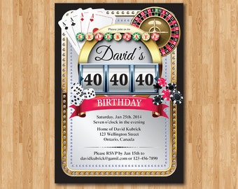 Casino theme Poker birthday invitation. Poker Playing Card Theme. Casino Party, game night, Las Vegas. Printable digital.