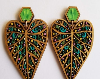 Leaf Statement Earring, Colorful Statement Earrings, Sustainable jewelry, dangle earrings, statement jewelry