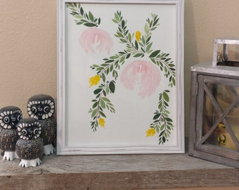 Floral WaterColor in Rustic White Frame