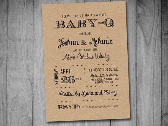 BabyQ Baby Shower Invitation Template Download Black Kraft