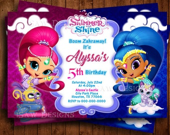 SHIMMER AND SHINE Printed Personalized Invitations - Shimmer & Shine Birthday Party Invitations - Boom Zarahmay! Shimmer and Shine Invites