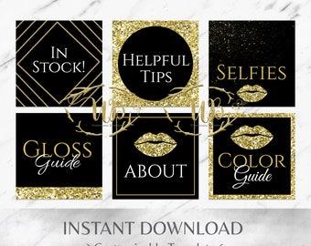 Gold Glitter | Black | Sparkle | LipSense Facebook Album Covers | Facebook Album Covers | Social Media Pack | SeneGence Facebook Covers