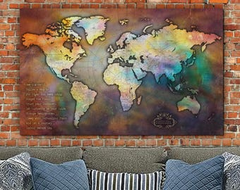Push Pin Antique Collage World Map-Single Panel Travel Map, Large Wall Art, Canvas Map, World Map Art, Travel Gift, Personalized Gifts
