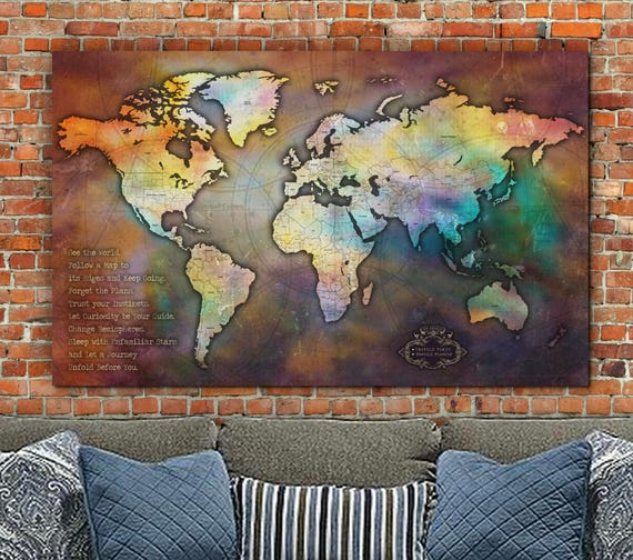 Push pin antique collage world map single panel travel map gumiabroncs