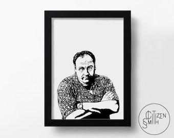 THE SOPRANOS - Tony Soprano - James Gandolfini - Hand-Drawn Black & White Art Print/ TV Poster