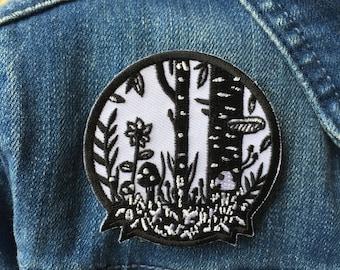 Wald-Eisen auf Patch, Pilz-Patch, floral Patch, gestickten schwarzen und weißen Flecken, wilde Patch, Garten patch