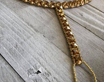 Czech Please Gold Slave Bracelet- Statement Bracelet - Gifts for Her - Handmade Bracelet - Crystal Bracelet - Hand Chain