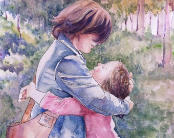 Mothers Day  Custom Watercolor portrait