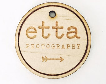5x CUSTOM LOGO TAGS - Laser Cut & Engraved Natural Wood Hang Tags, 40x40mm or Any Size Welcome