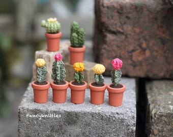 Crochet Moon Cacti dollhouse miniature crocheted cactus CHOOSE ONE colorful fake potted plant collectable mini decor gift for cacti lovers