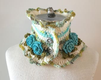Rose Scarf in ivory, blue, green with roses and leaves, ready to ship, one only,  this beautiful scarf.  READY TO SHIP.