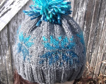 OMBRE knit Winter Snowflake Pom Beanie Hat, Blue Ombre Snowflakes POM POM Hat