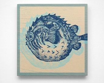 Coastal Bathroom Decor, Blowfish Art Block, Coastal Decor Beach Art, Nursery Prints, Coastal Gifts, Beach Gifts, Prints for Bathroom, Art