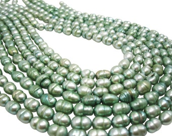 Freshwater Pearl Beads,  Sage Green Pearls, Potato Shape, SKU 4676