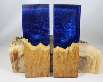 2 pcs Golden Amboyna Blue Composite Knife Scales (105)