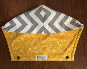 Tula con capucha Hood en zigzag gris y sol de círculo completo