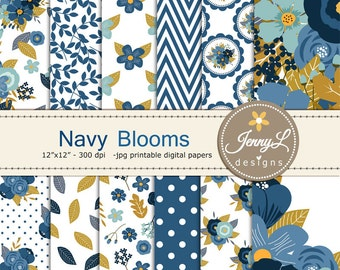 Navy Blue Floral digital paper,  Wedding Floral Paper Digital scrapbooking, invitations, birthday, wedding, Planners