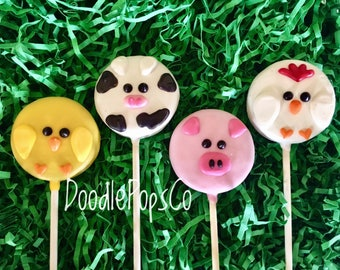 Farm animal Oreo cookie pops / Barnyard buddies / birthday party favor / chocolate covered Oreo / one dozen (12)