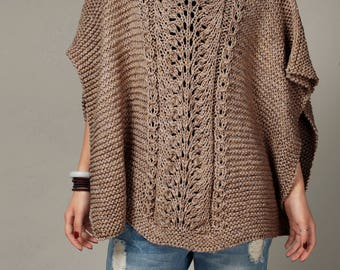 hand knit woman cotton Poncho/ capelet Mocha sweater