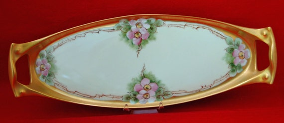 Reduced Price: Antique HAND PAINTED TRAY W/ Heavy Gold Edge, Artist Sgnd, Gorgeous Delicate Pink Flowers on Pale Ivory Background - Floral
