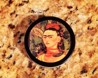 Frida Kahlo art 1 oz black tin pillbox retro travel case