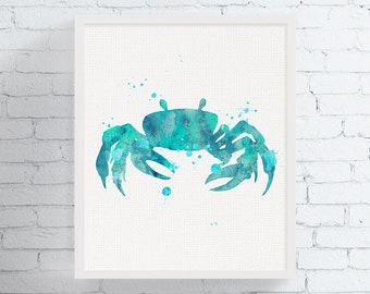 Watercolor Crab Print, Crab Wall Art, Crab Poster, Crab Decor, Nautical Prints, Sea Life Prints, Bathroom Decor, Crab Silhouette, Nursery