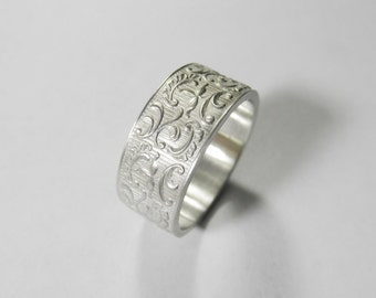 Massive wedding band, Filigree Victorian wedding ring, Sterling Silver Wedding Ring, men's wedding ring, women wedding ring