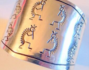 Vintage Navajo Hopi Bracelet - Solid Sterling Silver - Signed Wide Cuff  - TALL- 6 - 6.25 - Handmade Kokopelli Engraved Piper Cuff Bracelet
