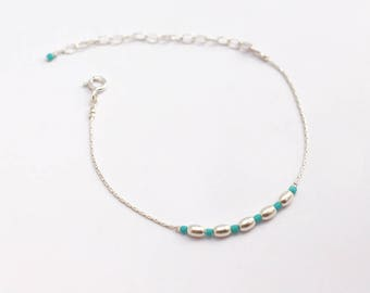 Minimalist thin Sterling silver snake chain Bracelet -  snake chain bracelet -  delicate wedding bracelet - stackable bracelet - turquoise