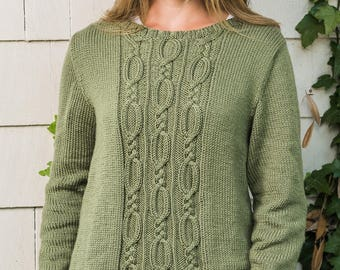 PDF Knitting Pattern Cable Panel Pullover #190