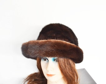 Vintage Brown  mink fur hat with brim