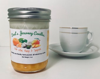 Clean Cotton, Mango, & Tangerine 6 oz soy candle