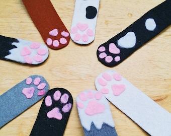 magnetic bookmark cat paw felt cute kawaii
