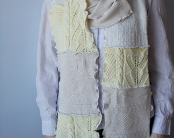 Yellow & Beige Knit Scarf, Long Knit Scarf, Upcycled Sweater Scarf