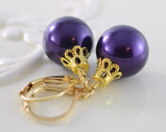 Dark Purple Earrings, Large Glass Pearls, Christmas Balls, Gold Plated Lever Earwires, Fun Holiday Jewelry
